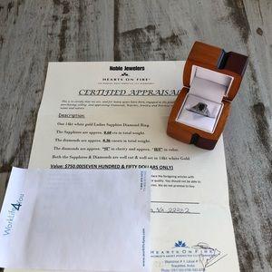 Sapphire diamond 14kt white gold ring, size 6